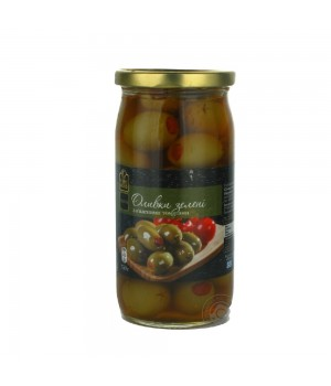 Green olives Fine Food pitted with dried tomatoes 350g