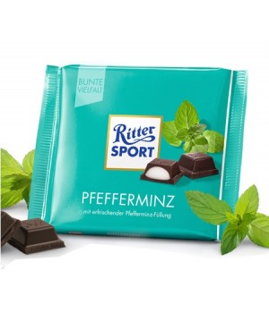 Chocolate Ritter Sport black with mint filling 100g