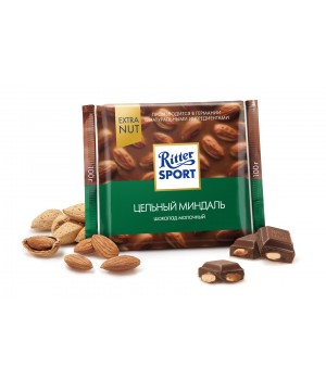 Ritter Sport milk chocolate with almonds, 100g