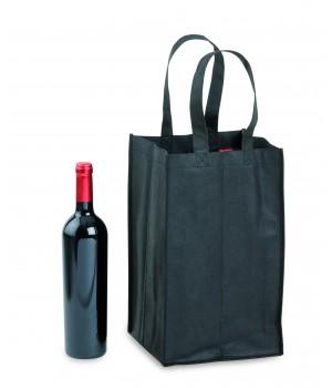Borsa intessuto 4 Bottiglie Nero
