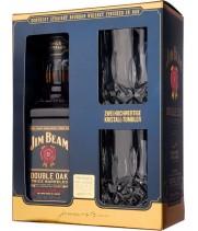 Віскі Jim Beam Double Oak + 2 келиха 0,7 л